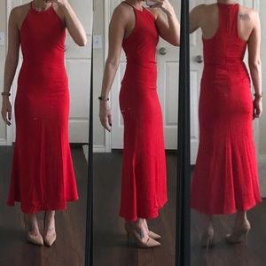 Badgley Mischka red racerback formal prom dress